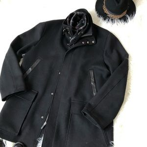 Leather trimmed Cole Haan Pea Coat